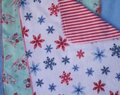 Burp Cloths Winter Holiday Set of 2, Soft Flannel Snowflakes and Vintage Little Birds
