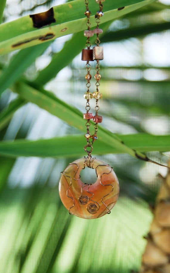 Striking Wirewrapped Peach Agate with Spinel, Mother of Pearl and Crystal Necklace