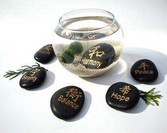 Marimo Moss Ball Aqua Zen Garden with Chinese Character Stone / Aquarium Terrarium