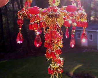 Red Jellyfish Crystal Suncatcher Beaded Sculpture OOAK Gold, Red, Orange, Crystals, Lampwork Glass, Up-cycled Teardrops Bicones Swirl