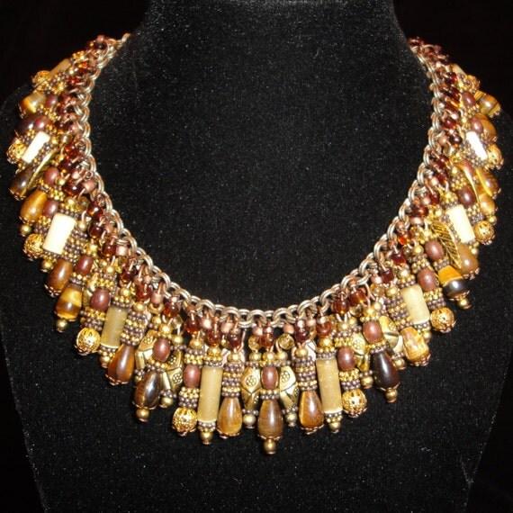 Ooak Cleopatra Ii Statement Bib Necklace Amp Earrings Set