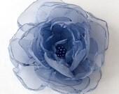"Flower Hair Clip/Headband/Brooch 3"" - Periwinkle Organza"