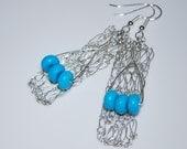 Tri-rondelle Turquoise on Crochet Wire Earrings, Crochet Wire Jewelry