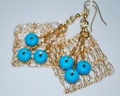 Tri-circle Turquoise on Diamond Crochet Wire Earrings, Crochet Wire Jewelry