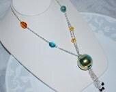 Venetian Glass Necklace, Long Chain Necklace, Venetian Glass Round Pendant Necklace, Aquamarine, Gold Foil