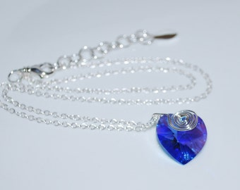 Crystal Heart Necklace, Simple Locket, Swarovski Crystal Heart Pendant Necklace, Blue Heart,  Blue, Sapphire Blue