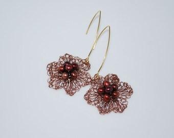 Crochet Wire Earrings, Crochet Wire Jewelry, Wire Crocheted Earrings - with Freshwater Pearl, Cranberry, Antique Copper