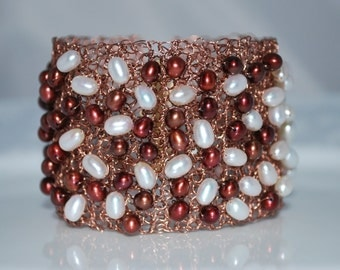 Crocheted Wire Beaded Cuff Bracelet, Crochet Wire Bracelet, Freshwater Pearls on Wire Cuff, Crochet Wire Jewelry, Cranberry, Antique Copper
