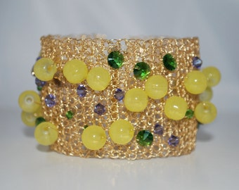 Crocheted Wire Beaded Cuff Bracelet, Crochet Wire Bracelet, Crystal Cuff Bracelet, Gold Wire with Yellow Glass Beads, Crochet Wire Jewelry