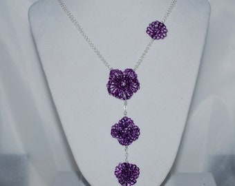 Crochet Wire Necklace, Crochet Wire Flower Necklace, Crochet Wire Jewelry, Double Chain Necklace, Amethyst