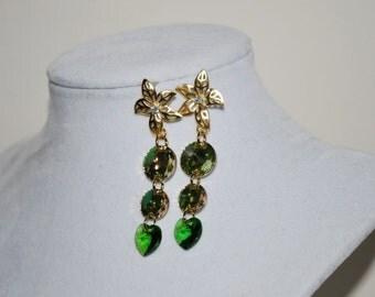 Bridesmaid Earrings, Bridal Flower Earrings, Swarovski Crystal Rhinestone Earrings, Crystal Element Earrings, Green