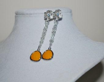 Bridesmaid Earrings, Bridal Flower Earrings, Faceted Glass Stone Drop Earrings, Flower Stud Earrings, Mustard