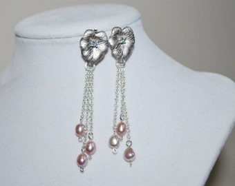 Bridesmaid Earrings, Matte Silver Leaf Stud Earrings, Bridal Leaf Earrings, Freshwater Pearl Earrings, Wedding Jewelry, Mauve, Silver