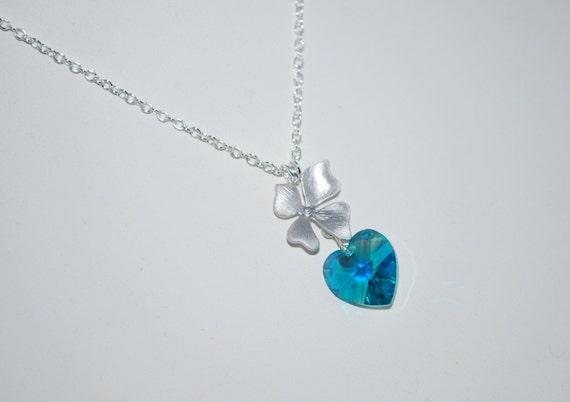 Single Orchid Flower Necklace - with Swarovski Crystal Heart, Blue Zircon, Simple Locket