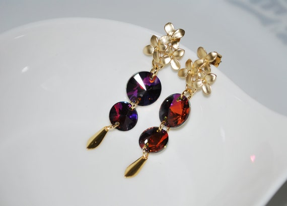 Bridesmaid Earrings, Bridal Flower Earrings, Swarovski Crystal Rhinestone Earrings, Flower Stud Earrings, Simple Earrings