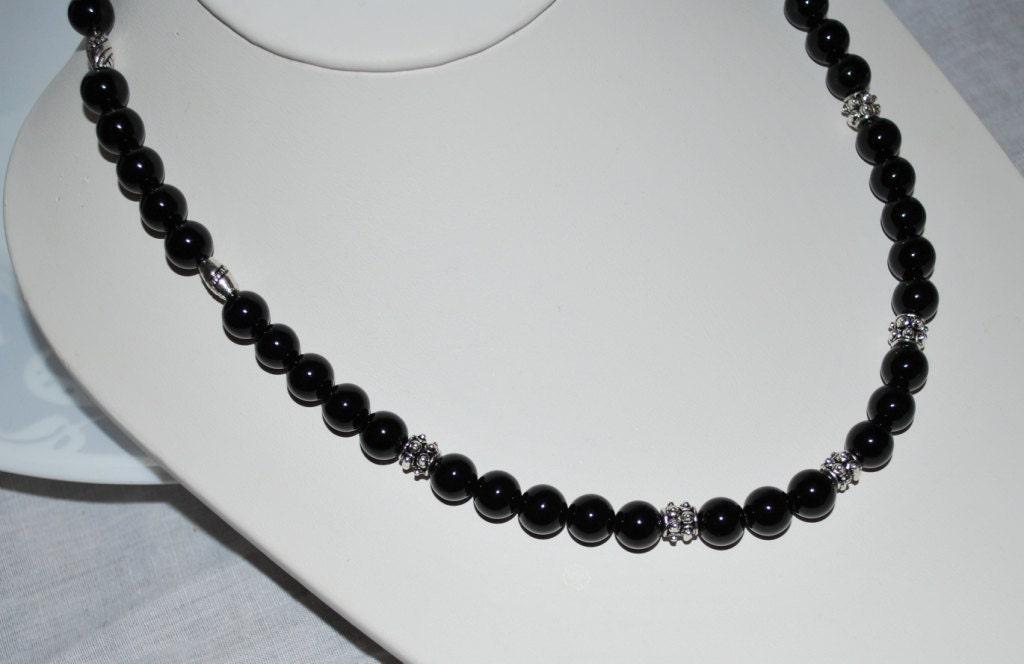 mens necklace s necklace black onyx necklace