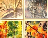 Fall and Winter Note cards - 5 x 7 watercolor prints - landscape,  nature, abstract, blank inside