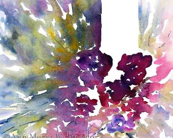 """Into the Garden -  abstract floral watercolor- 20""""x20"""" signed giclee print"""