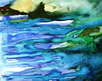 Ocean blues, abstract watercolor, giclee print, 8 x 10