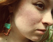 Goldstone and turquoise magnesite earrings - FREE SHIPPING in US