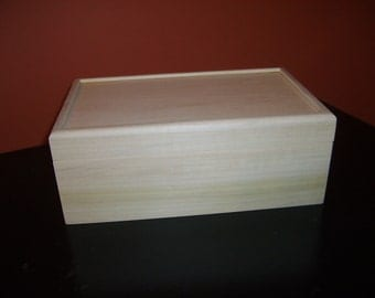 Unfinished Wooden Box with Hinges-10x6 x3 3/4-unfinished wood box-ready to finish-engravable wood box-personalized laser engraving