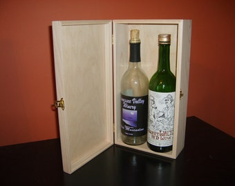 Unfinished Wood Wine Box w/ Hinges & Latch- 2 Bottle