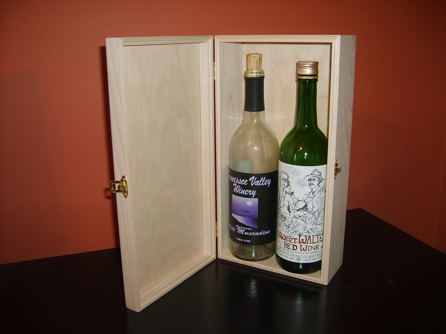 Unfinished wood wine box w hinges latch 2 bottle for Timber wine box