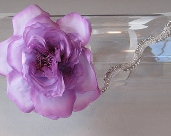 Silk Lilac Flower Halo Headband with Crystal Beaded Band and Ivory Satin Ribbon Tie,  for weddings, bridesmaid, parties