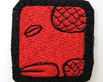 Mayan 13 moon Symbol Red Serpent / Chicchan  - Hand made embroidery patch