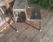 Vtg Kitchen Step Stool 1950s/60s 2 Steps Retro Industrial Metal Cottage Chic
