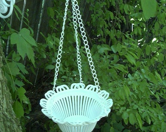 Vintage Shabby Cottage Beach Chic Upcycled Hanging Flower Basket