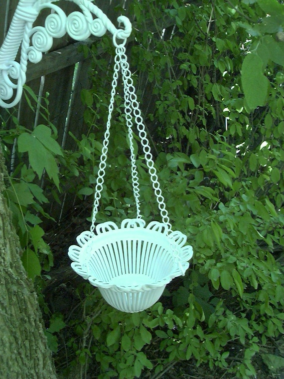 TAKE 50% OFF_Vintage Shabby Cottage Beach Chic Upcycled Hanging Flower Basket