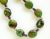 Green Turquoise Necklace, Semi Precious Gemstones, Sterling Silver, Earthy, Lapis Lazuli, Red Coral