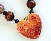 Red Agate Chunky Beaded Necklace, Handcrafted Copper Heart Pendant, Unique, Semi-Precious Gemstones, One-Of-A-Kind