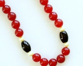 Ruby Beaded Necklace, Black Onyx, Freshwater Pearls, Semi-Precious Gemstones, 14-K Gold Filled, Elegant