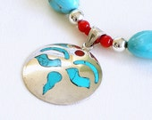 Sleeping Beauty Turquoise Beaded Nugget Necklace, Inlay Pendant, Sterling Silver, Red Coral, Semi Precious Gemstone, Quality