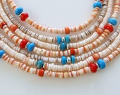 Southwestern Multi Strand Heishi Shell Beaded Necklace, Turquoise, Coral, Sterling Silver, Semi Precious, Orange, Red, Pink, Peach