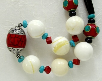 Ethnic Necklace, Big White Jade, Red Copal Beads, Sleeping Beauty Turquoise, Sterling Silver, Unique, Designer, Semi Precious Gemstones