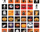 Halloween - 1x1 inch square images - Inchies - Digital Collage Sheet - Printable designs for scrabble tiles,scrapbooking and more.