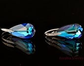 Bermuda Blue Teardrop Earrings... Swarovski Crystal, 925 Sterling Silver Post