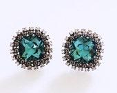 Sea Blue Swarovski Crystal Stud Earrings