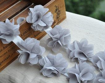 Bridal Hair Flower, Grey Chiffon Lace Flowers, Bridal Hair Accessory