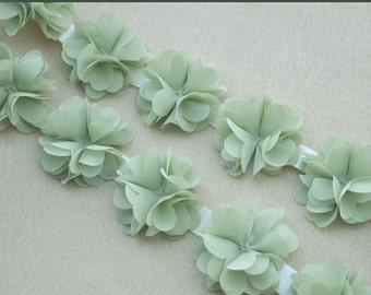 3D Chiffon Rose Trim Green Home Decor Satin Trim DIY Accessory Costume Headware Supplies