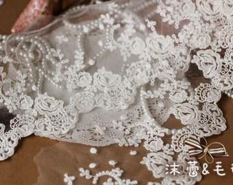 Cotton Lace Trim, Embroidery Floral Lace Trim, Retro Bridal Lace Trim , Bridal Veil