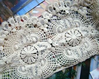 1 Yard Cotton Lace Trim Chemical Lace Vintage Ecru Lace Trim DIY Handmade Accessory 10cm wide
