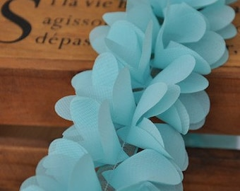 Aqua Lace Trim, Chiffon Lace Trim, Bridal Lace Fabric Trim, Wedding Sash Decor