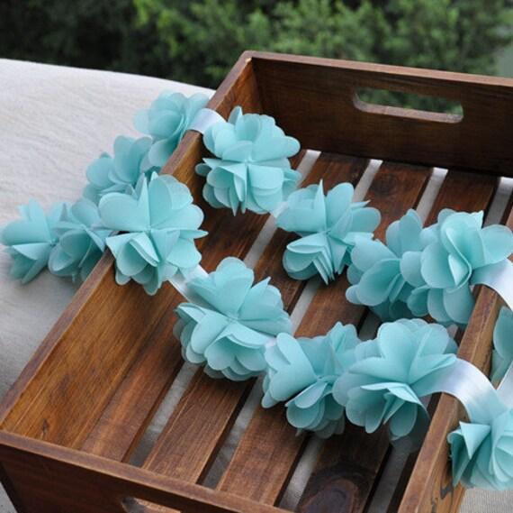 Lace Trim in Aqua Blue, Bridal Flower, Flower Girl Headbands, Wedding Bouquet