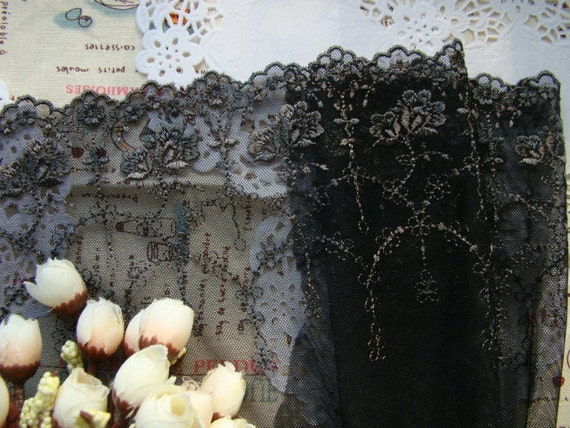 Black  Mesh Embroidered Mesh Lace Trim Fabric Lace Trim Flower Lace Net 7.48 Inches Wide 2 Yards