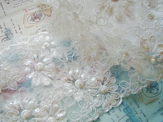 Pearl Bridal Lace Fabric Trim Wedding Dress Trim Beading Lace Bridal Gloves Sequined Lace