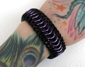 Purple and black stretchy chain mail bracelet
